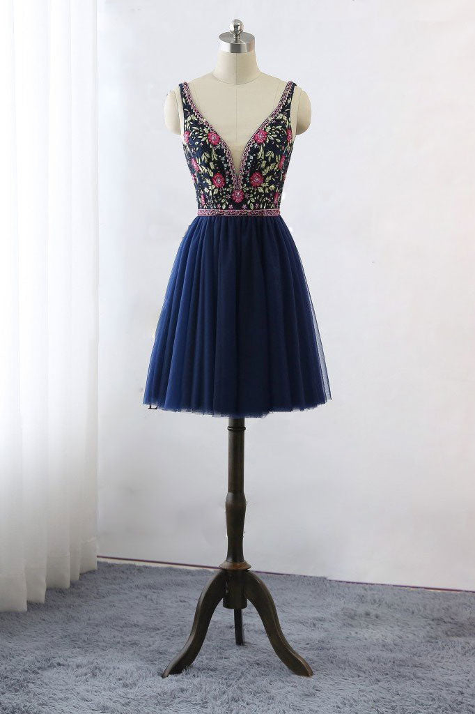 Dark blue v neck lace tulle short prom dress, blue homecoming dress