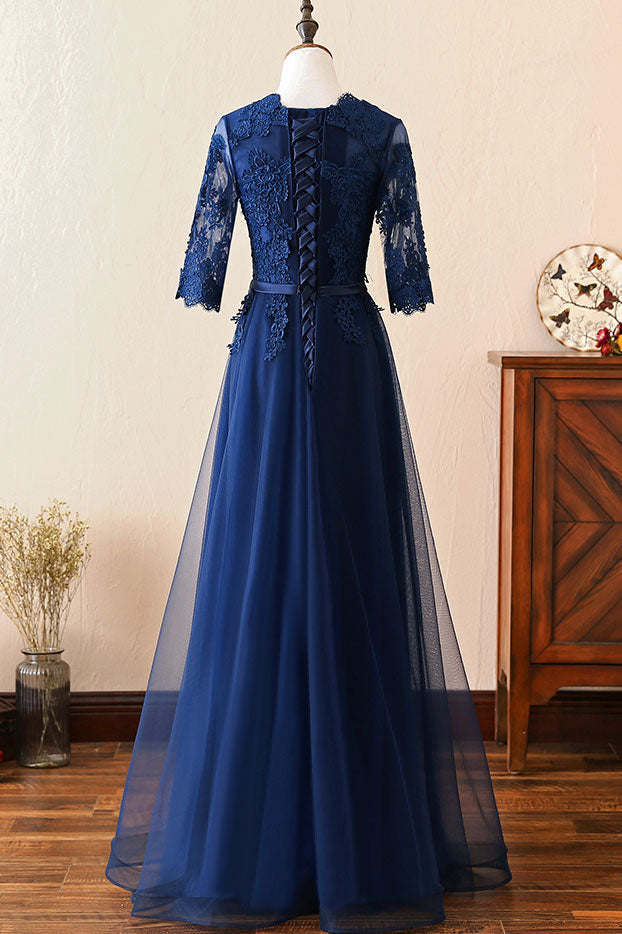 Dark blue round neck lace tulle long prom dress, blue bridesmaid dress