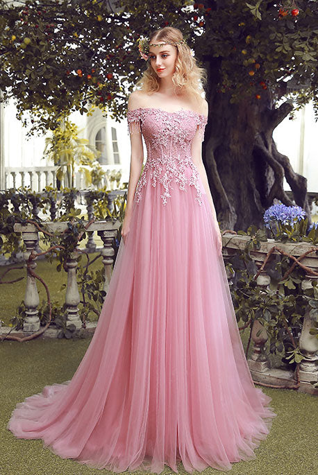 Pink off shoulder lace tulle long prom dress, pink bridesmaid dress