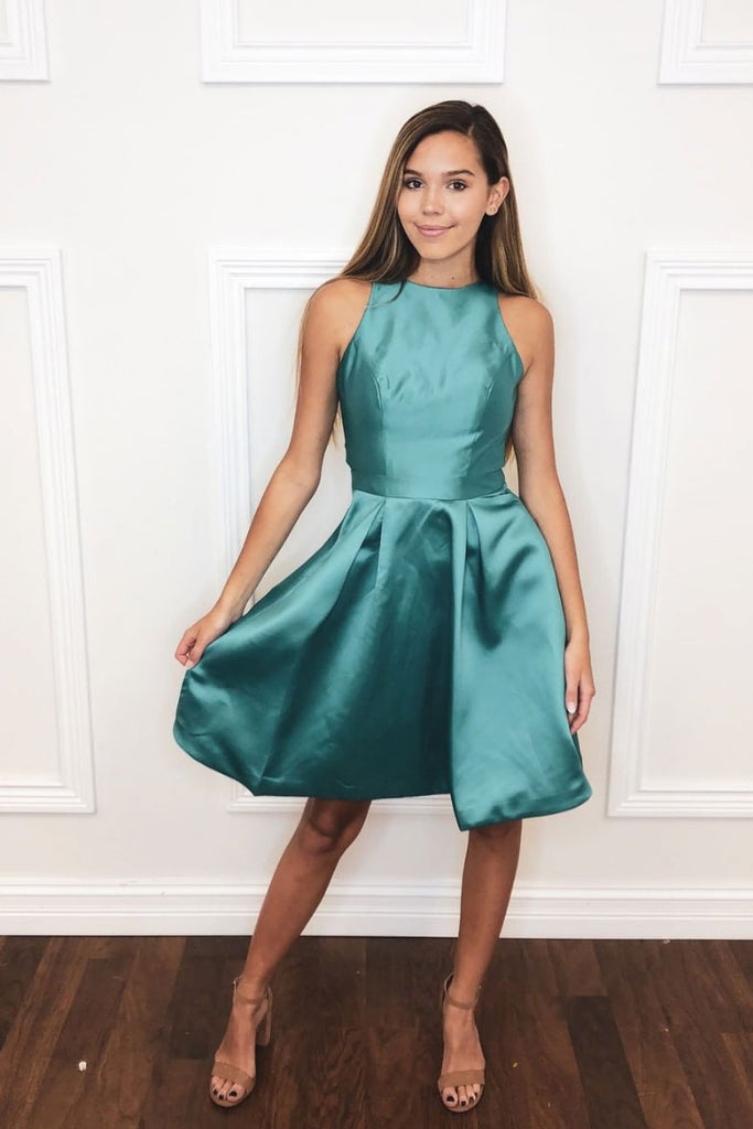 Simple green satin short prom dress green homecoming dress