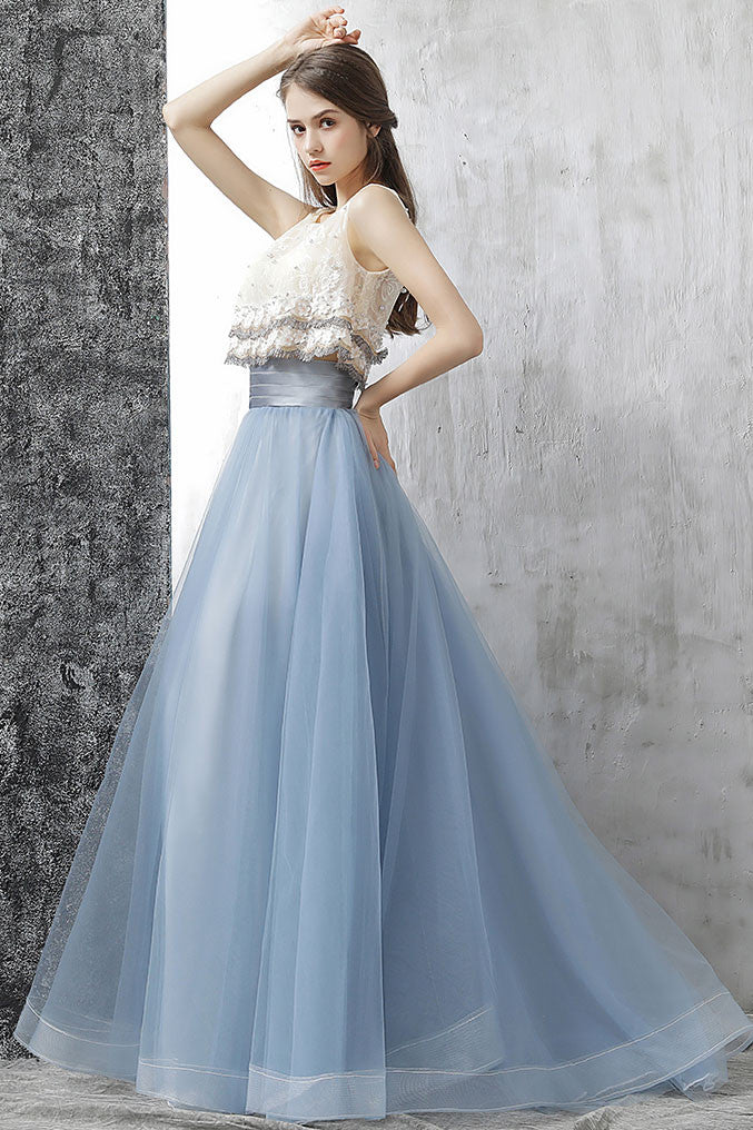 Elegant gray blue tulle lace two pieces long prom dress, gray blue evening dress