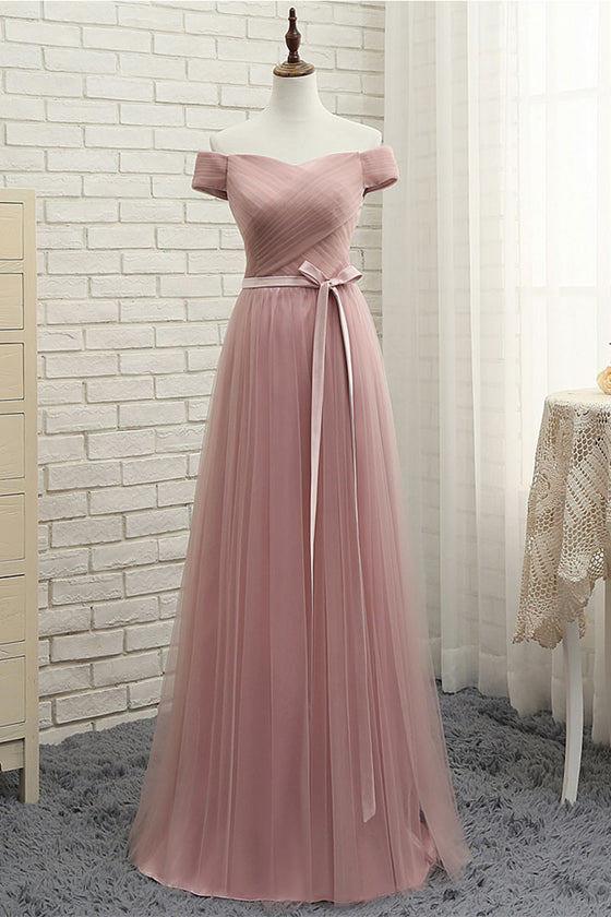 Simple sweetheart tulle long prom dress, tulle bridesmaid dress