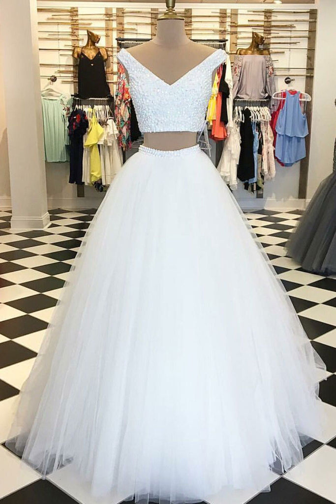 White tulle two pieces long prom dress, white evening dress