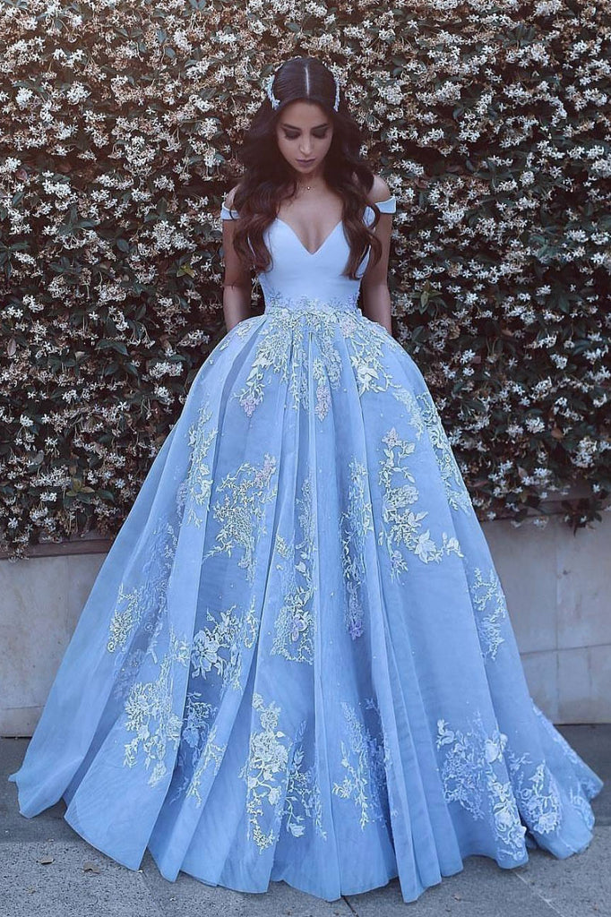 Blue tulle lace off shoulder long prom dress, blue tulle evening dress