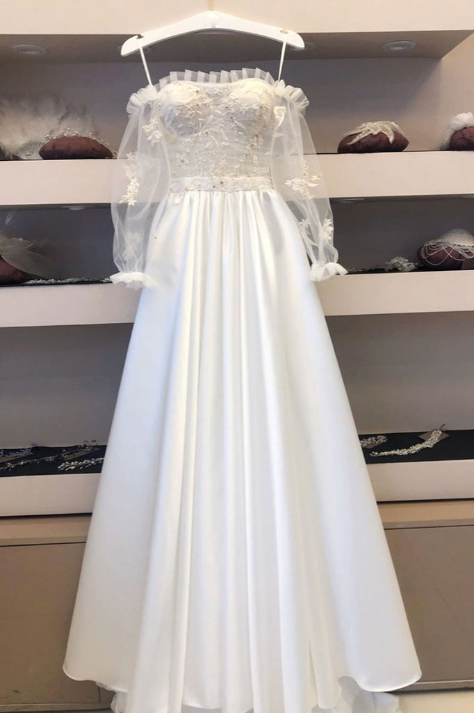 White lace satin long prom dress lace satin evening dress