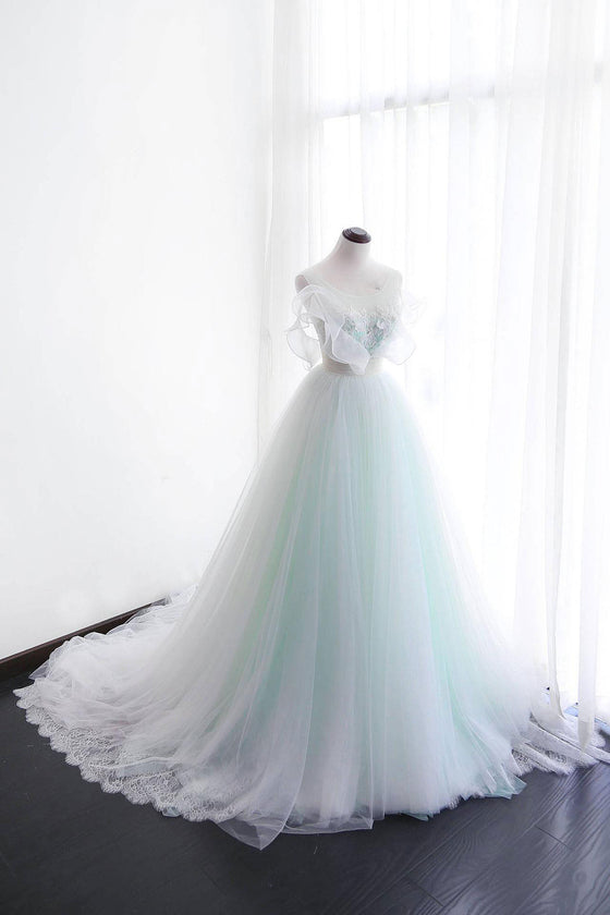 Elegant tulle lace long prom dress, tulle evening dress