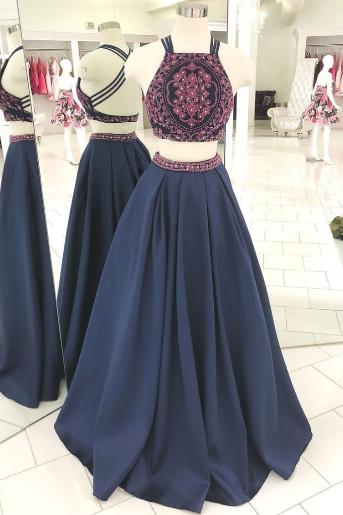 Dark blue two pieces beads long prom dress, blue evening dress