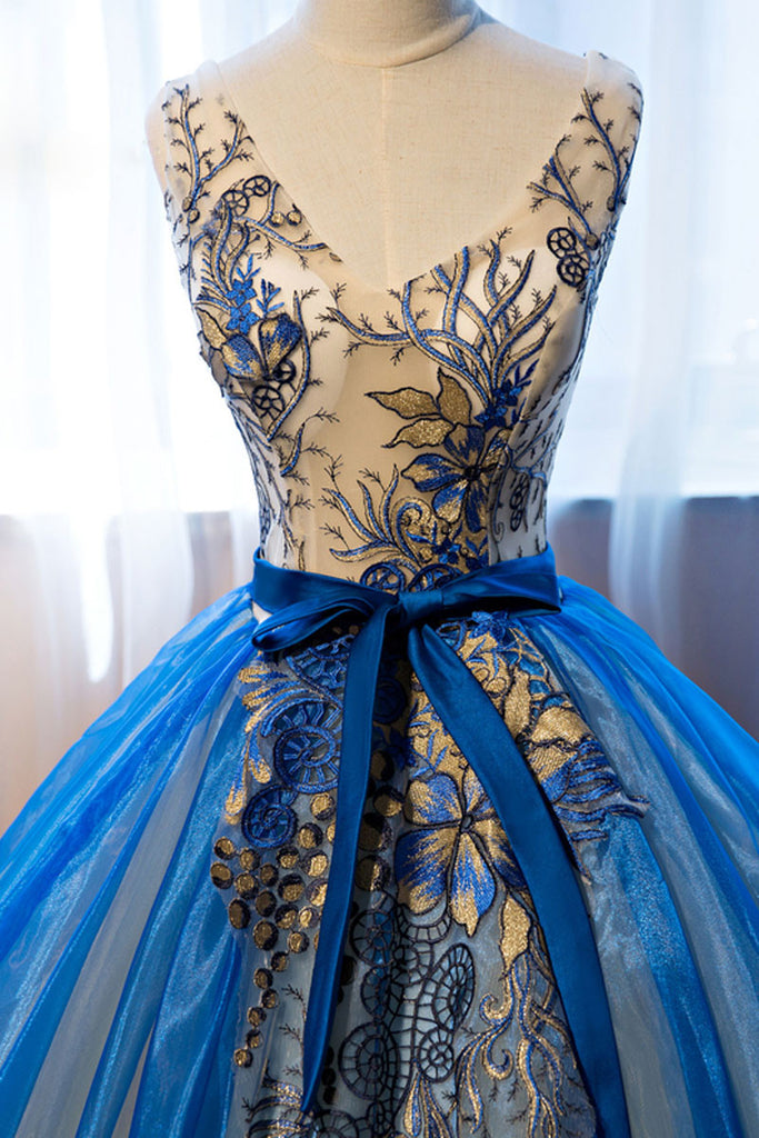 Unique v neck blue embroidery long prom dress, sweet 16 dress