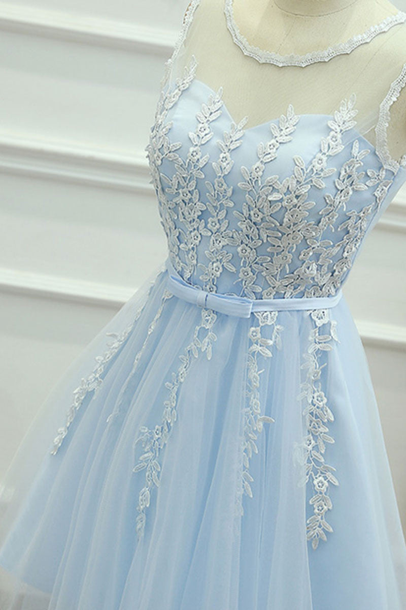 cabb6daf949 Cute round neck lace tulle blue prom dress