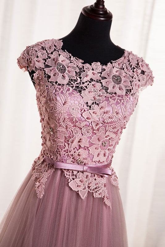 Pink round neck tulle lace applique long prom dress, tulle evening dress