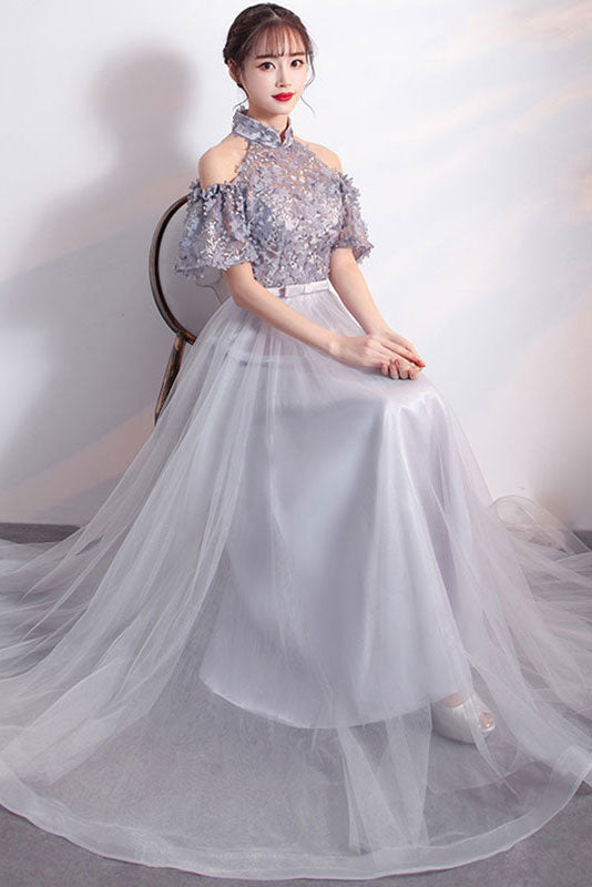 Gray tulle lace applique long prom dress, gray bridesmaid dress