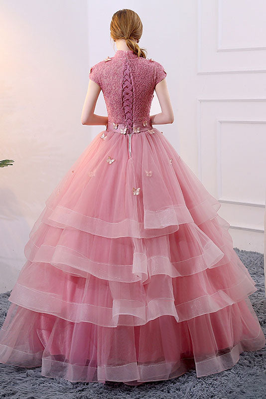 Unique pink tulle long prom dress, pink evening dress