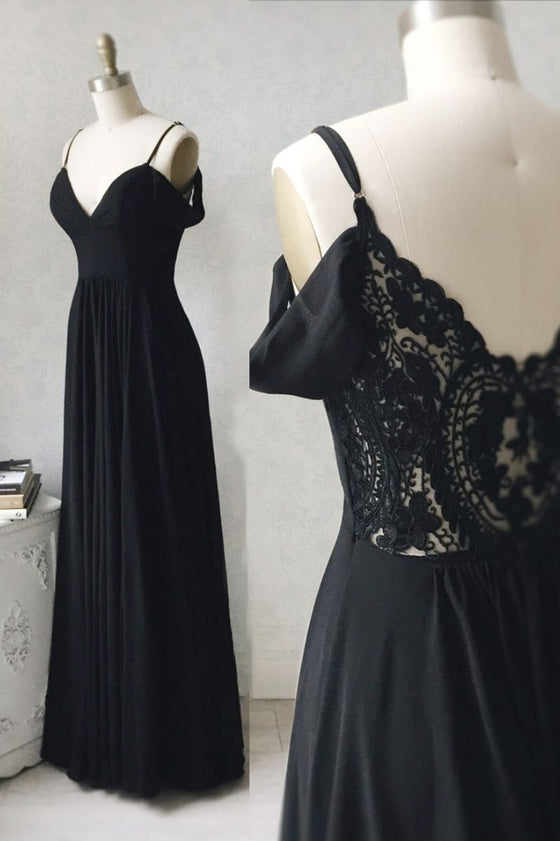 Black v neck chiffon lace long prom dress black evening dress