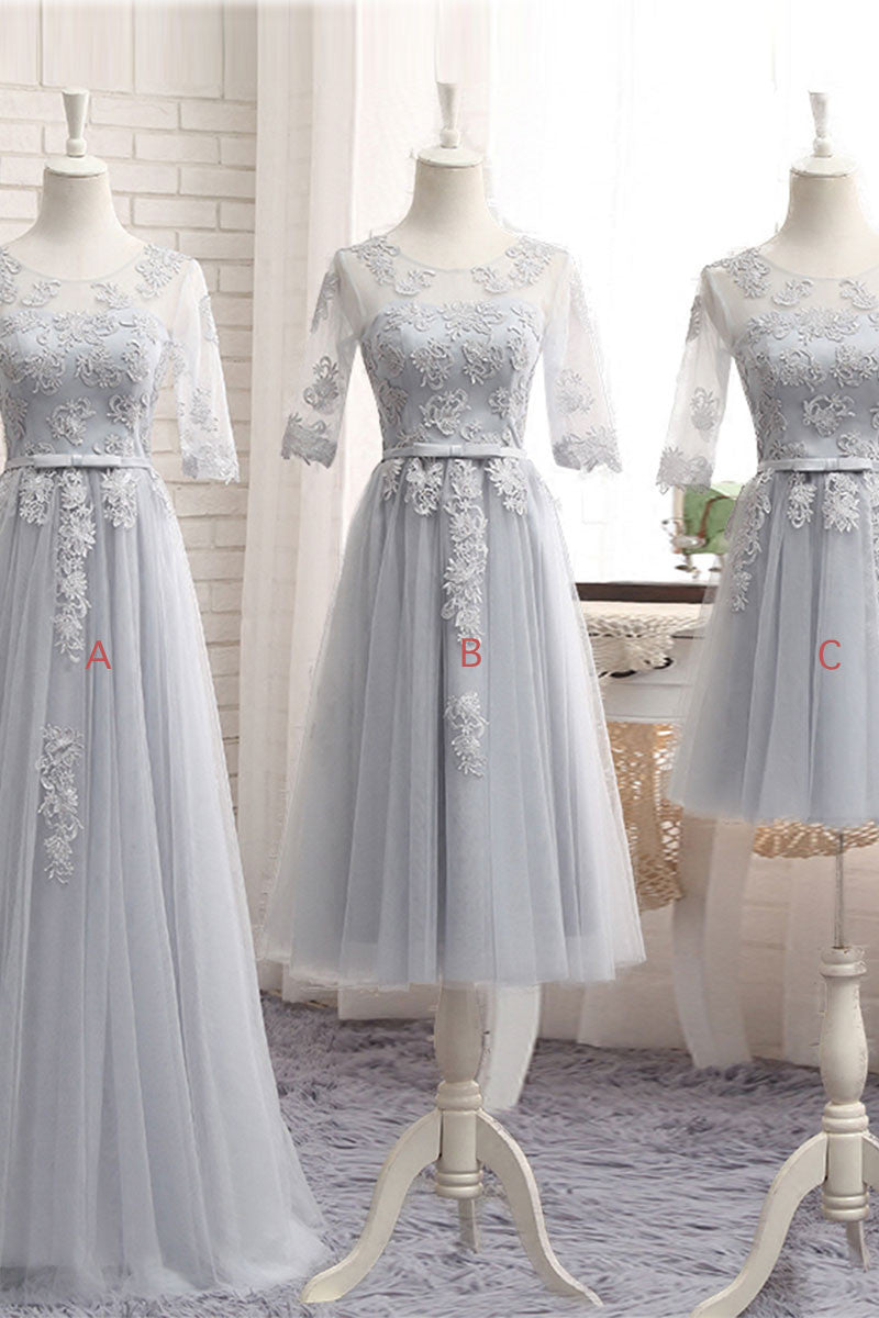 Gray tulle lace long prom dress gray bridesmaid dress dresstby gray tulle lace long prom dress gray bridesmaid dress ombrellifo Images