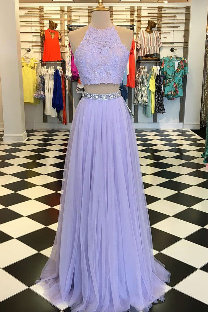 Purple tulle two pieces lace long prom dress, purple evening dress