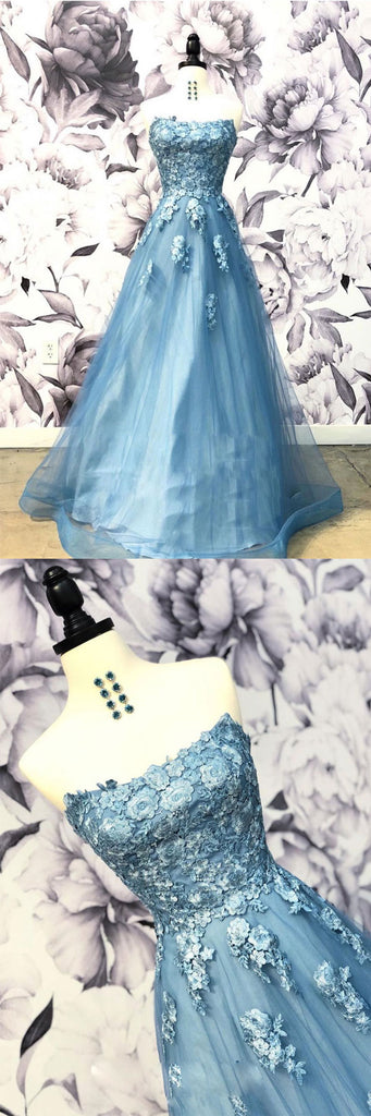 Blue sweetheart neck tulle applique long prom dress, blue evening dress