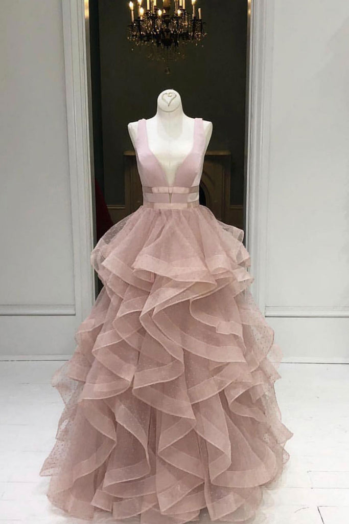 Pink tulle long prom dress, pink tulle long evening dress