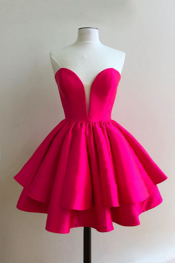 Simple sweetheart neck short red prom dress, cute homecoming dress