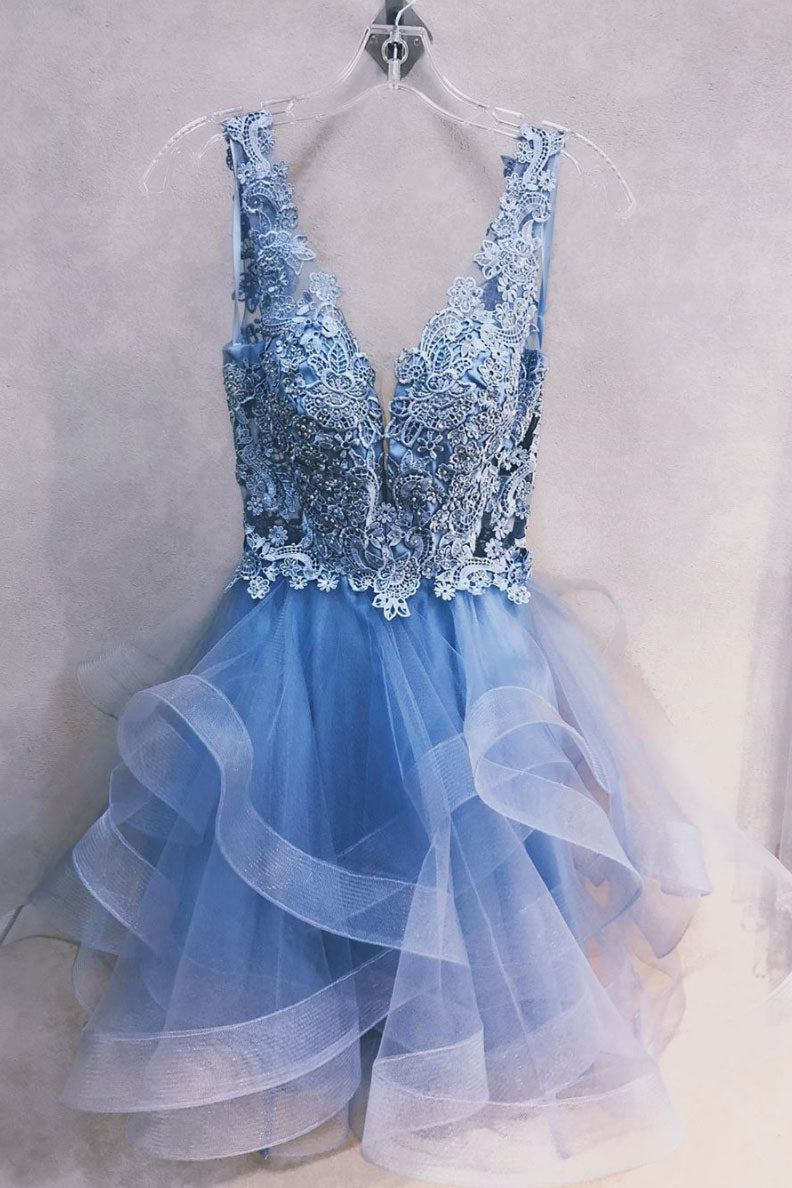 Blue v neck tulle lace short prom dress, blue homecoming dress