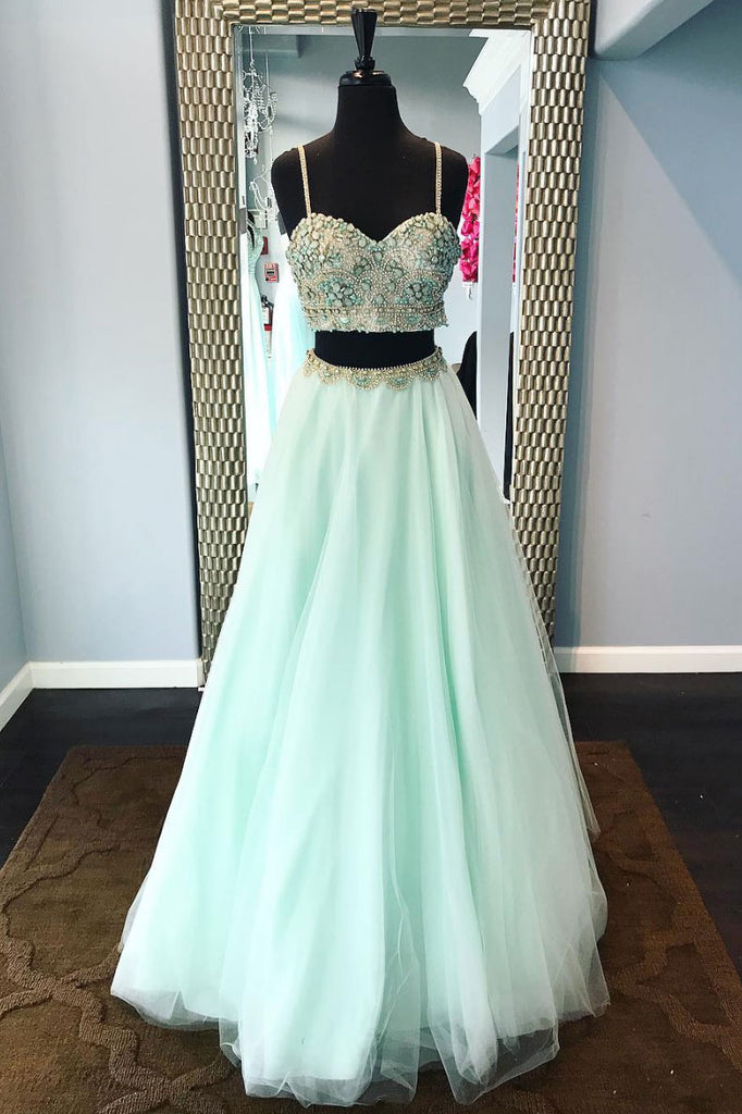 Green beads two pieces tulle long prom dress, green evening dress