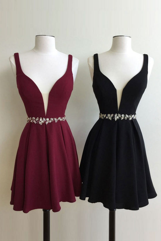 Cute v neck short prom dress, homecoming dress, bridesmaid dress