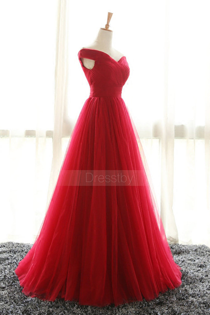 Simple red off shoulder tulle long prom dress, red evening dress