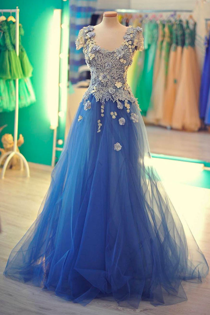 Unique lace applique tulle blue long prom dress, blue evening dress