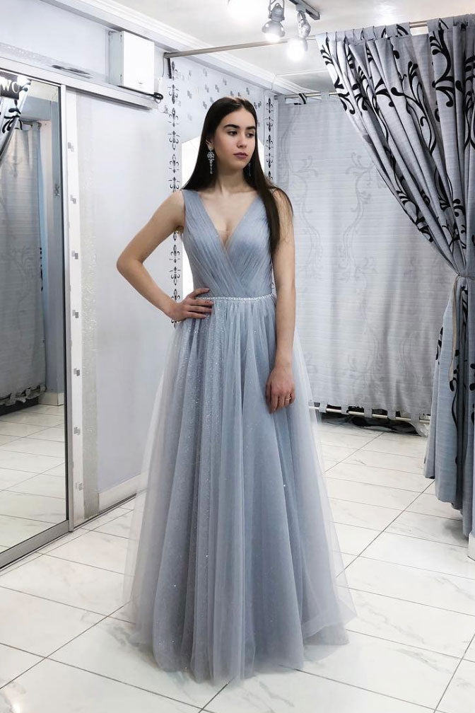 Simple gray v neck tulle long prom dress, gray tulle evening dress