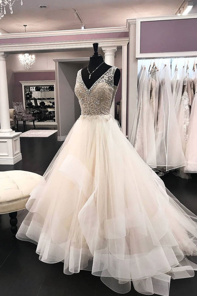 Unique v neck beads tulle long prom dress, tulle evening dress