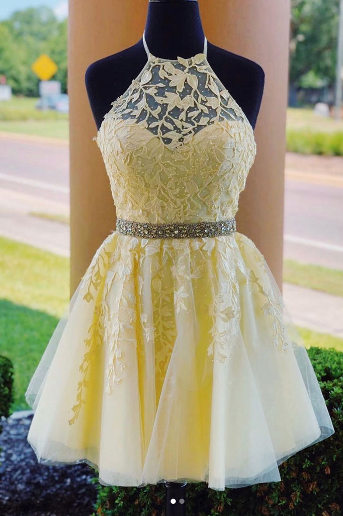 Yellow tulle lace short prom dress yellow homecoming dress