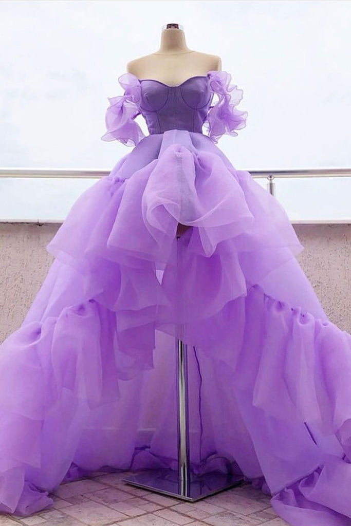 Purple tulle high low prom dress, purple evening dress