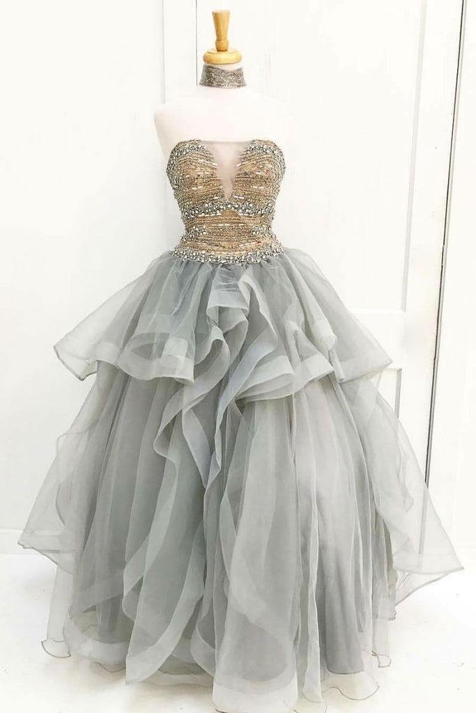 Gray tulle beads sequin long prom dress, gray tulle evening dress