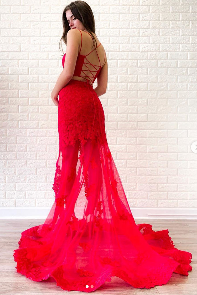 Red two pieces lace long prom dress, red lace evening dress
