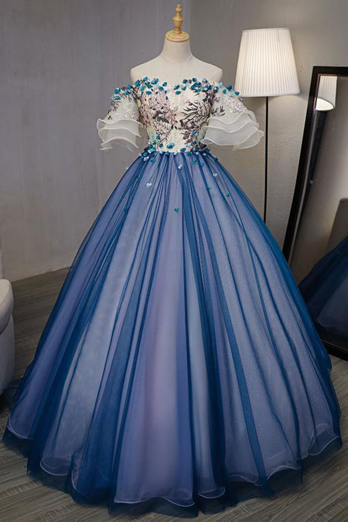 Blue tulle lace applique long prom dress, blue evening dress