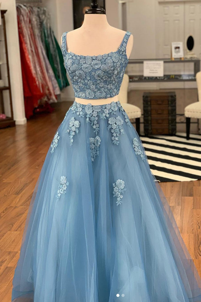 Blue two pieces lace tulle long prom dress, blue evening dress