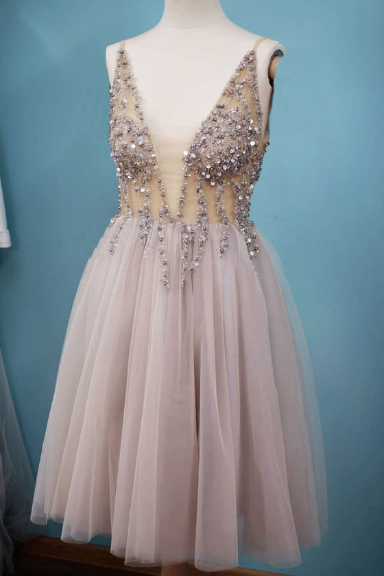Gray v neck tulle beads sequin short prom dress gray formal dress