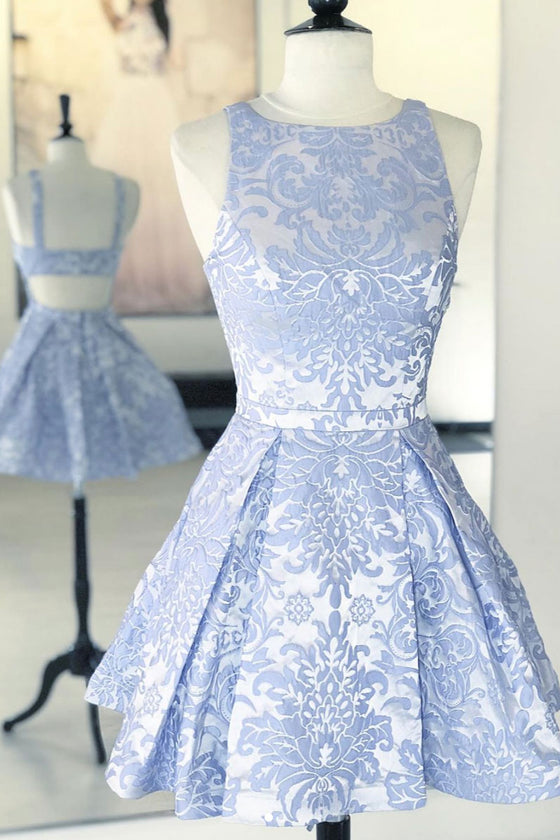 Blue lace short prom dress, blue lace homecoming dress