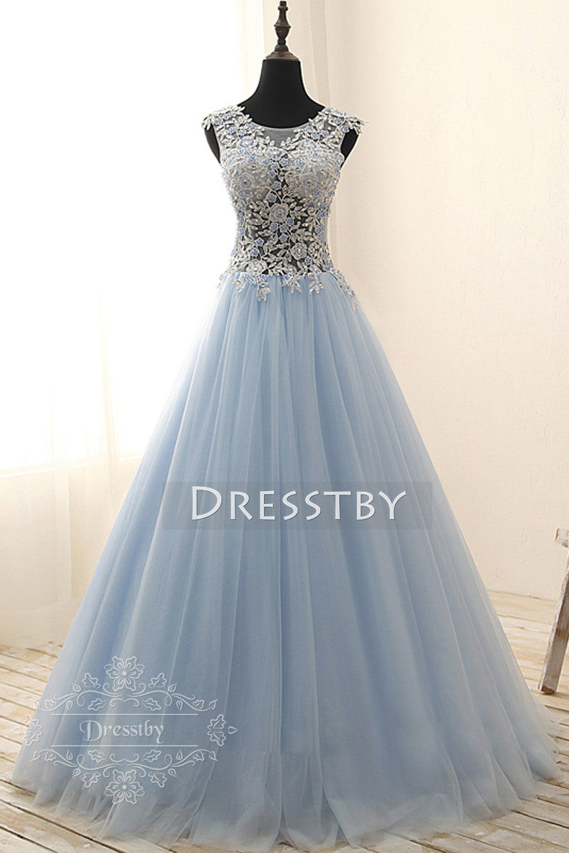 Light blue round neck tulle lace applique long prom gown, sweet 16 ...
