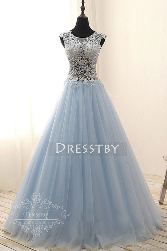 Light blue round neck tulle lace applique long prom gown, sweet 16 dress