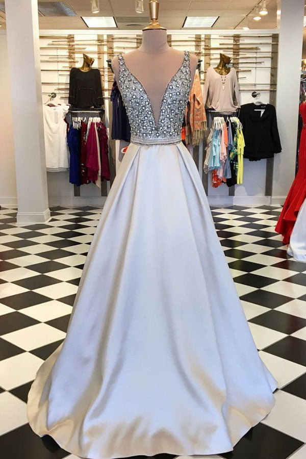 Champagne A-line beads long prom dress, champagne evening dress