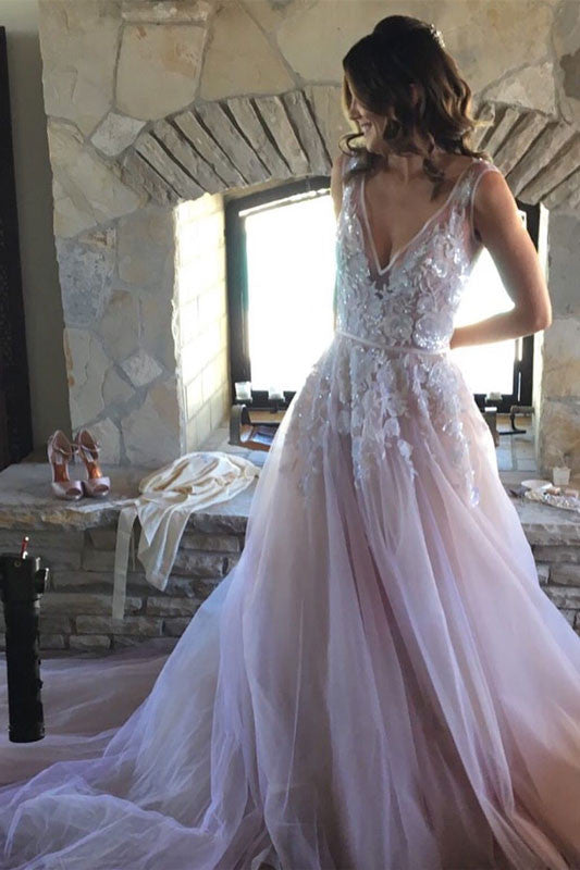 Unique v neck lace applique tulle long prom dress, wedding dress