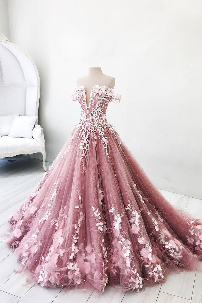 Unique pink tulle lace long prom dress, pink tulle lace evening dress