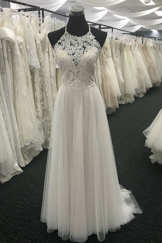 White A-line lace chiffon long prom dress, white lace wedding dress