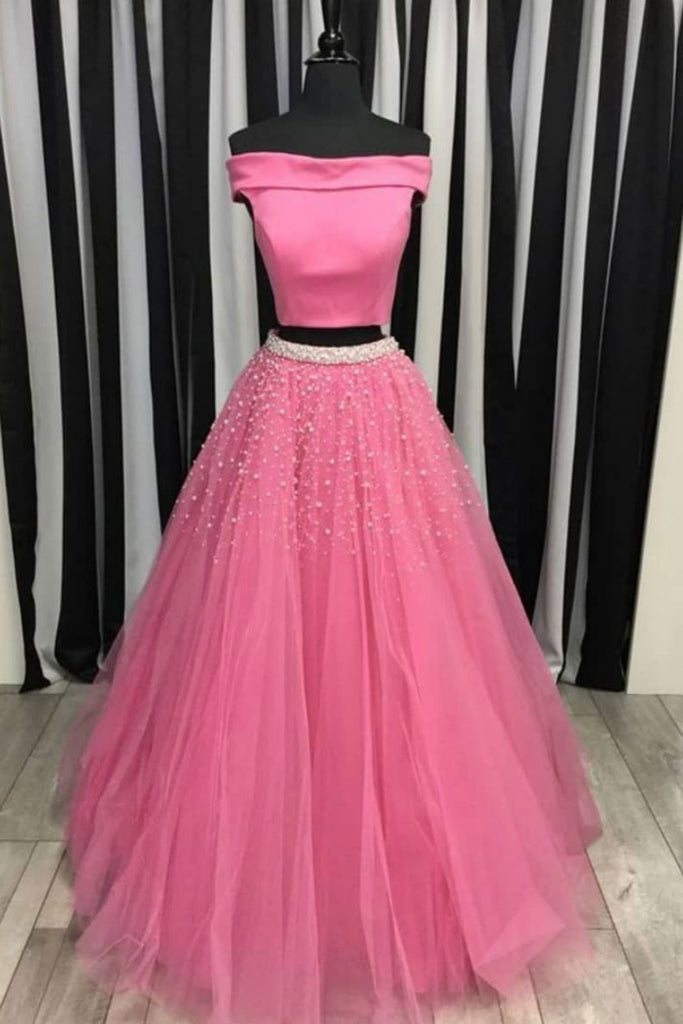 Pink two pieces tulle beads long prom dress, pink evening dress