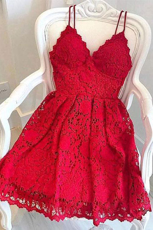 Red lace short prom dress cute lace cocktail dress