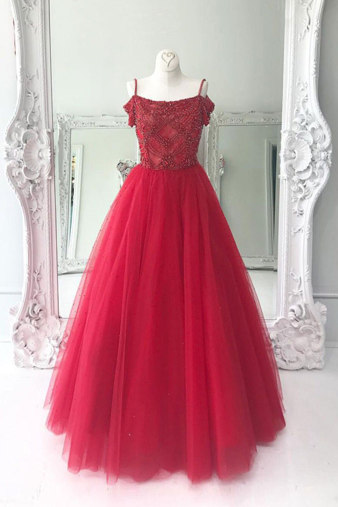 Red off shoulder tulle long prom dress, red long evening dress
