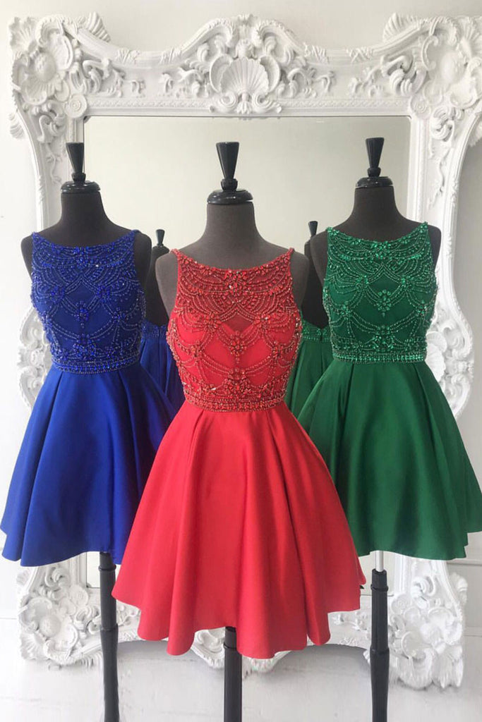 Cute round neck beads short prom dress, cute homecoming dress