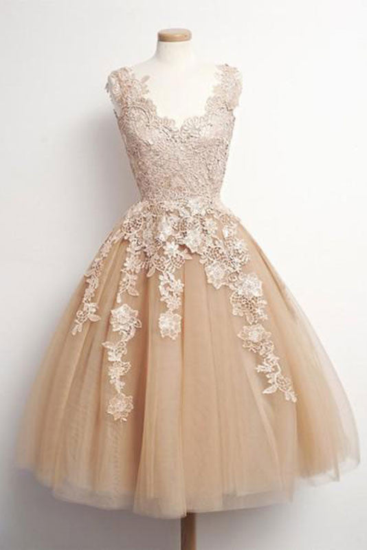Champagne tulle lace short prom dress, cute homecoming dress
