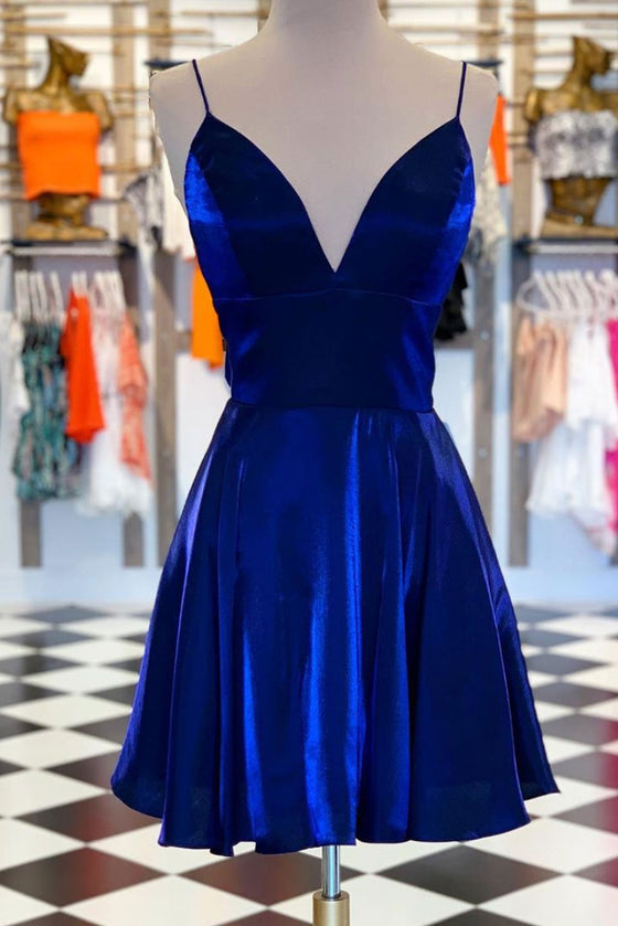 Simple v neck blue short prom dress blue homecoming dress