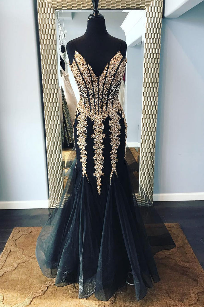 Black sweetheart tulle sequin long prom dress, tulle evening dress